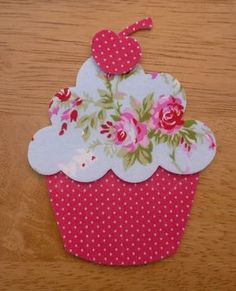 Iron on fabric Cupcake, 8 cm x 10 cm applique pieces), UK, made to order Cupcake 1 Shabby Chic Large Iron on Fabric by craisymissdaisy, Hand Quilting Patterns, Applique Patterns, Free Motion Quilting, Applique Quilts, Applique Designs, Patchwork Quilting, Fabric Crafts, Sewing Crafts, Sewing Projects
