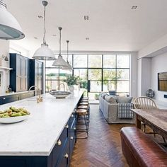 40 Beautiful Blue Kitchen Design Ideas For Fresh Kitchen Inspiration - Page 15 of 40 Kitchen Diner Extension, Open Plan Kitchen Diner, Open Plan Kitchen Living Room, Kitchen Floor Plans, Kitchen Family Rooms, Open Concept Kitchen, Home Decor Kitchen, Kitchen Flooring, Concept Kitchens