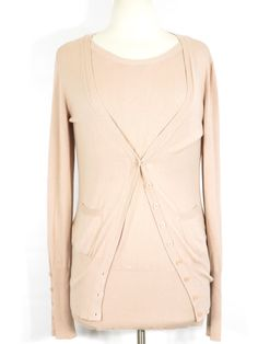 ESCADA SPORT Women Peach Twin Set Knit Cardigan & Long Sleeve Top Sweater S…