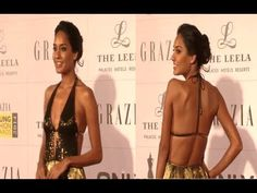 Lisa Haydon in a revealing BACKLESS gown at YOUNG FASHION AWARDS 2014.