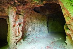 Anapat Cave (or Grotto) near Yenokavan, Armenia, has a style of pre-Christian carvings which are unique in Armenia. One wall is covered solid in figures of people and faces. Later carvings included crosses and altars.