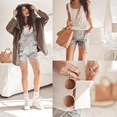 Light Blue Ripped Denim Rompers, Nasty Gal Bruges Boot   Ivory, Lamixx White Bamboo Tank Top With Pockets!, Quay Eyeware Bronze Framed Cat Eye Shades, Khaki Cape Hoodie, Sling Tote Bag, Crossed Wrap Ring