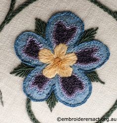 Crewel Stool stitched by Marjorie Gilby; detail