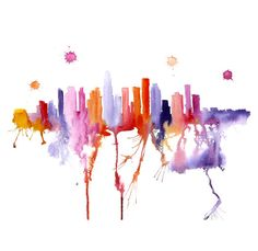 I would love this for the living room... Los Angeles illustration ART PRINT 13X19  watercolor by PortLove, $45.00