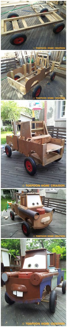 Mater (CARS)made out of repurposed pallets and other materials