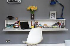 The BESTÅ BURS shelf makes a perfect fold-away desk space.   http://www.ikea.com/gb/en/catalog/products/60133931/