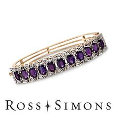 "C. 1950 Vintage .75ct t.w. Diamond, 9.35ct t.w. Amethyst Bangle Bracelet. 6.25"" february birthstone bracelets"