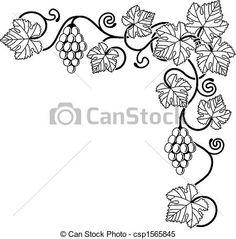 Flowering Vine Designs | Clipart Vector of Grape vine design element - A grape vine corner ...