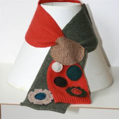 Polka Dot Mini Keyhole Scarflette Recycled Sweater Felted Wool and Cashmere Scarf -orange and green