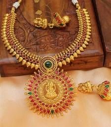 Buy Beautiful gold plated temple necklace set necklace-set online