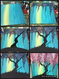 Acrylic tree painting using q tips. Acrylic tree painting using q tips. Pink… Acrylic tree painting using q tips. Pink or purple flowering tree. Easy Canvas Painting, Acrylic Painting Canvas, Diy Painting, Painting & Drawing, Canvas Art, Acrylic Painting Tutorials, Painting Lessons, Painting Techniques, Learn To Paint