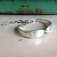 Vintage Upcycled Spoon Jewelry Double Fork Spoon Handle Cuff Bracelet - Adjustable - Clear Cut Glass Bead Charm by JuLieSJuNQueTiQue on Etsy