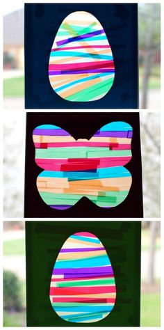 Make these colorful spring suncatchers and work on a variety of developmental skills while you're at it. A great easter craft idea for preschoolers!