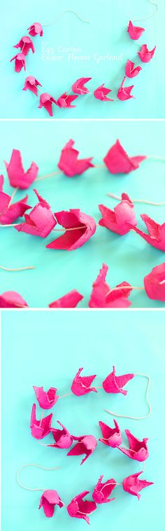 Egg Carton Flower Garland - Kids Love Eggs for Food and for Artwork - Ostern - Diy And Crafts, Crafts For Kids, Arts And Crafts, Projects For Kids, Craft Projects, Egg Carton Crafts, Flower Garlands, Spring Crafts, Flower Crafts
