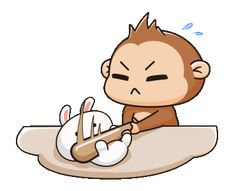 LINE 個人原創貼圖 - A naughty monkey & a spoiled bunny 5 eng Example with GIF Animation Cute Love Images, Cute Love Gif, Cute Cat Gif, Cute Pictures, Cute Couple Cartoon, Cute Love Cartoons, Cute Cartoon, Angry Cartoon, Cartoon Gifs