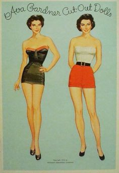 Ava Gardner Paper Doll Cut Out Dolls