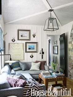 Thom Filicia Lake House – Rustic Lake House Decor   Pinterest Most Wanted Beautiful Bedrooms, Beautiful Homes, House Beautiful, Home Interior, Interior Design, Interior Ideas, Living Room Decor, Living Spaces, Living Rooms