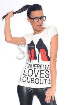 Дамска тениска CINDERELLA   Блузи, Пуловери, Ризи   Онлайн Магазин за Дамски Дрехи и Аксесоари 'Шопинг Терапия'