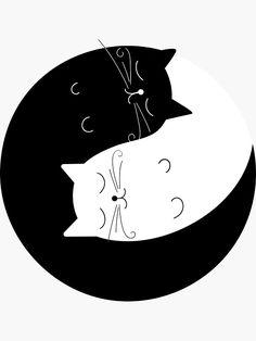 'Ying yang cats' Sticker by narais Yin Yang Art, Coffee Artwork, Record Art, Cat Wallpaper, Cat Stickers, Cat Drawing, Cat Tattoo, Cat Design, Rock Art