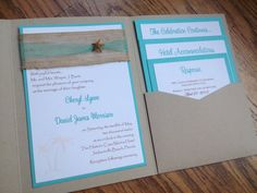 Beach Pocket Wedding Invitation Tropical by decadentdesigns, $6.00