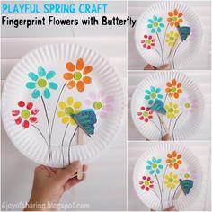 fingerprint flower - flower kid crafts - acraftylife.com #preschool #craftsforkids #crafts #kidscraft