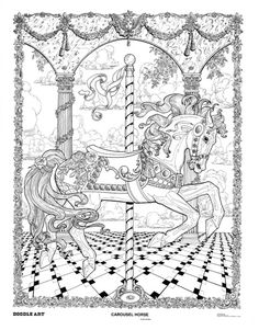 CAROUSEL HORSE doodle art colouring poster: This was uploaded by doodleartposters, FREE jpg download @ photobucket.
