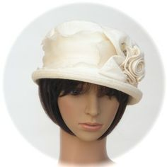 hemp/silk jacquard with rose detail, silk organza band & quartz hatpin - Rosehip Hat Studio