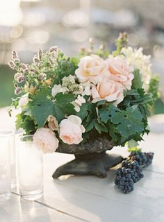 Soft and romantic centerpiece via once wed