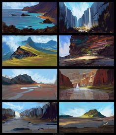 Environment Thumbnails by Tom Lopez on ArtStation. Dark Landscape, Landscape Concept, Fantasy Landscape, Digital Art Tutorial, Digital Painting Tutorials, Digital Paintings, Environment Painting, Environment Concept, Bg Design