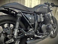 Color scheme I want to go with. Gloss Black, Matte Black, Black textured bed coating and silver.  Kawasaki K750 Cafe Racer ~ Return of the Cafe Racers