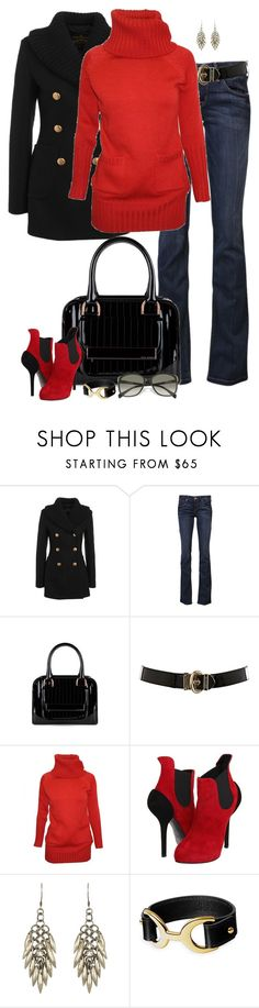 """Red & Black (II)"" by partywithgatsby ❤ liked on Polyvore featuring Vivienne Westwood Anglomania, SOLD Denim, Ted Baker, Karen Millen, Barbour, Giuseppe Zanotti, AllSaints and Prada"