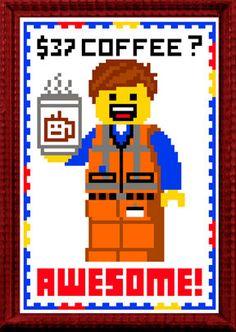 37 Dollar Coffee? AWESOME! Emmet DIY cross stitch digital pattern from the LEGO movie