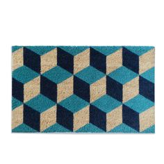 Geometric Blocks Pattern Decorative Door Mat (1'6 x 2'6) (18 inches wide x 30 inches long), Blue (Coir)