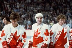 Bobby Orr, Denis Potvin and Bobby Clarke of Team Canada celebrate a win against Czechoslovakia after the Canada Cup Final held at the Montreal Forum on Sept. [Photo: Denis Brodeur / NHLI via Getty Images] Hockey Teams, Ice Hockey, Bruins Hockey, Denis Potvin, History Of Hockey, Canada Cup, Bobby Orr, Boston Sports, New York Islanders