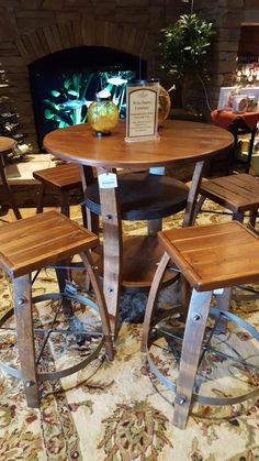 Beautiful wine table and chairs from wine barrels @ Childress Winery