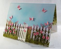 Lovely card with a pop up garden bench inside