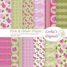 "Rose digital paper, ""pink and green shabby chic"" digital paper pack, pink roses, wedding, valentine, scrapbooking, roses, pink vintage roses - pinned by pin4etsy.com"