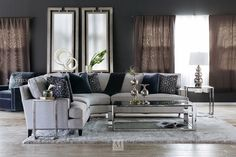 Three-Piece Contemporary Nailhead Accented Sectional in Gray Living Room Decor Furniture, Basement Furniture, Living Room Redo, Living Room Sectional, Living Room Seating, Living Room Remodel, Dining Room Chairs, Sectional Sofa, Modern Furniture