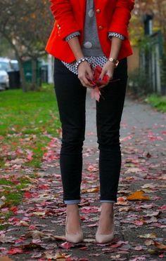 Red blazer, grey sweater, polka dot blouse, fitted pants, nude heels. Cute work look.