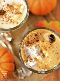 Save money and calories by making your own Pumpkin Spice Latte at home in 5 minutes or less! Use espresso, strong coffee, or keep it caffeine-free for a festive, kid-friendly drink. | iowagirleats.com