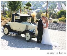 Bring a vintage car to the wedding for awesome photos!
