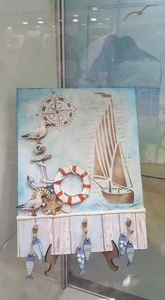 Seaside Decor, Coastal Decor, Pallet Boxes, Nautical Cards, Beach Cards, Decoupage Vintage, New Crafts, Masculine Cards, Stone Art