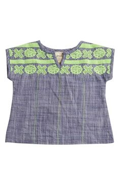 Peek 'Olivia' Embroidered Chambray Top (Baby Girls)