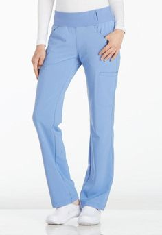 Mid Rise Straight Leg Pull-On Tall Pant In Ciel Blue. A Contemporary fit, mid rise, straight leg pant features a comfort-fit knit waistband reinforced with inside elastic for extra support. Cherokee Uniforms, Cherokee Scrubs, Healthcare Uniforms, Medical Uniforms, Scrubs Outfit, Leg Pulling, Medical Scrubs, Nursing Scrubs, Tall Pants