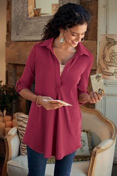 Toujours Tunic - Effortlessly stylish in a classic silhouette   Soft Surroundings