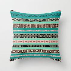 Aztec Tribal Pattern Throw Pillow by RexLambo - $20.00