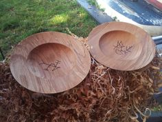 2 Mary Rose replica bowls with owners marks by Andy Fortune of the Mulberry Tree Woodturnery.