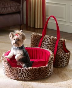 This is so cute... except the bed, the carrier, and the bow in the dog's hair would be pink! (I'd need a girl doggy! LOL)