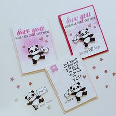 Panda Valentine Love Cards by Vera Rhuray using stamps and dies by @mamaelephant  -----  stamps  : pandamonium and cross my heart -----  dies : peek a frame and pandamonium