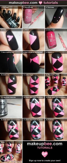 Step-By-Step Tutorial for Pink Argyle Scottish Nail Art